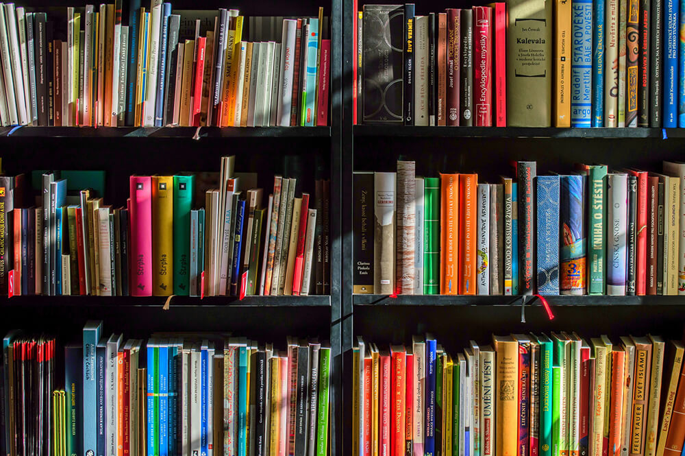 Many books on a bookshelf in a library