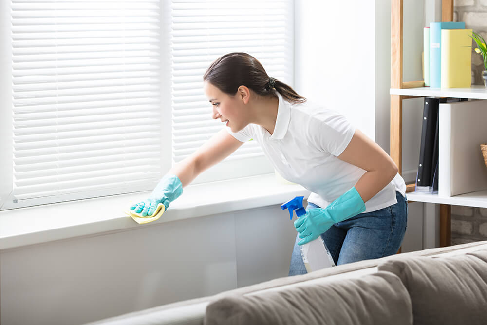 Residential cleaning in home by a housekeeper maid